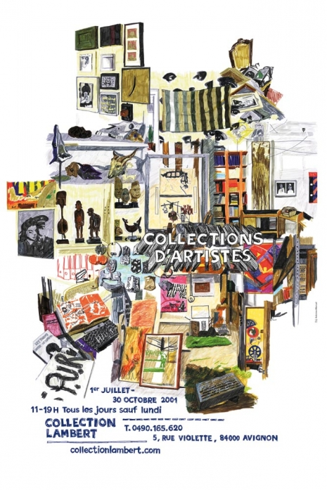 Plakat wystawowy Collections d'artistes, Collection Lambert w Awinionie, 2001